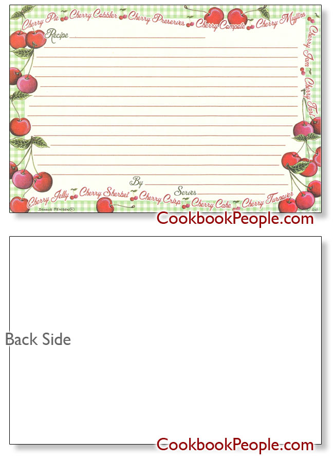 Personal 4x6 Recipe Cards;Earth Friendly; Made in USA Gingham ...