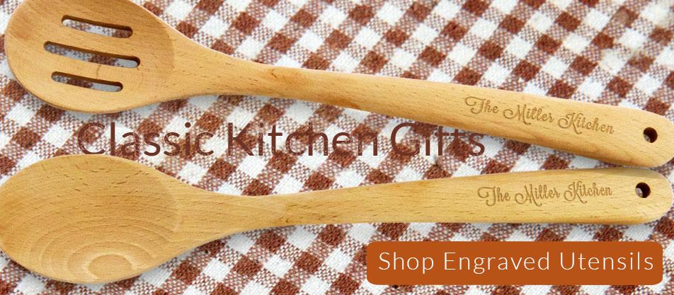 Engraved wood spoons