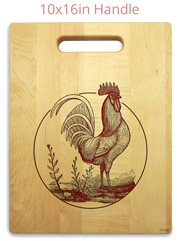 Rooster maple cutting board