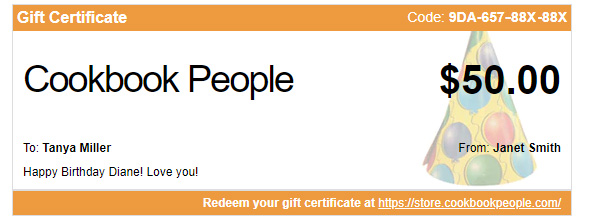 gift certificate cookbook people